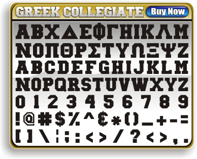 Greek Collegiate Block Font